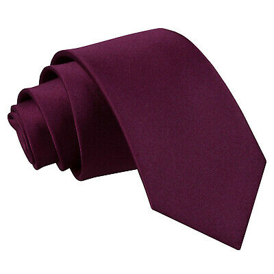 DQT Satin Plain Solid Plum Kids Child Holy Communion Page Boys Tie