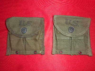 U.S.ARMY: 1945 WW2 X 2  SEPARATE MAGAZINE POUCHES-DOUBLE,WEB,CARBINE,Cal.30 M-1
