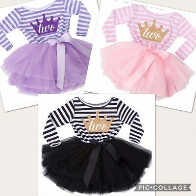 Girls Second 2nd Birthday Tutu Skirt Dress Outfit Party Pink Lilac Black Two