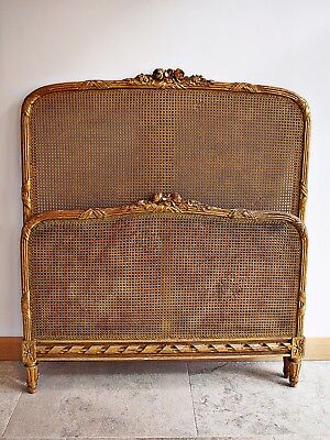 Antique French Bergere guilt head and footboard