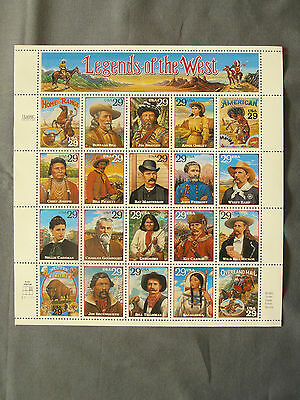 LEGENDS OF THE WEST 1994 USPS Scott #2869 20 Stamp Sheet 29c MNH/OG Very Fine