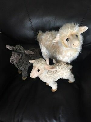 Plush Sheep Lot Country Decor Folk Art Stuffed Animals W Pose Able Wired Legs