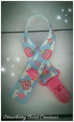 Dummy Clip Pacifier/Keep Safe, Handmade. Girls Floral Hot Air Balloons -FREE P&P