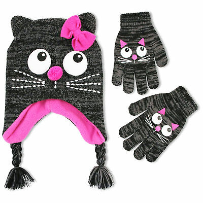 ABG Accessories Cat Critter Hat & Glove Cold Weather Set, Little Girls, Age 4-7