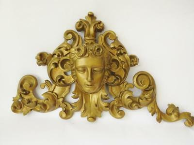 18th/19th c French Carved Wooden Pediment, Acanthus Leaf & Figural Decoration