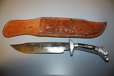 Vintage Engraved BOWIE KNIFE Hand Made Eagle Horn Handle Mexico w/Leather Sheath