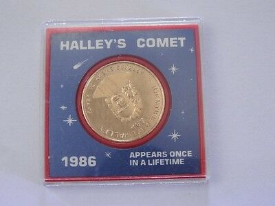 1986 Halley's Comet Appears Once In A Lifetime Gold Medallion