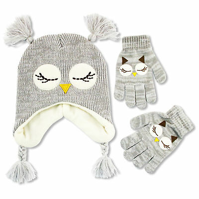 ABG Accessories Owl Critter Hat & Gloves Cold Weather Set, Little Girls, Age 4-7