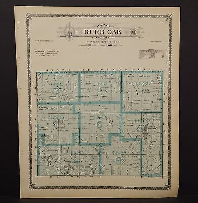 Iowa Winneshiek County Map Burr Oak Township 1905  K14#86