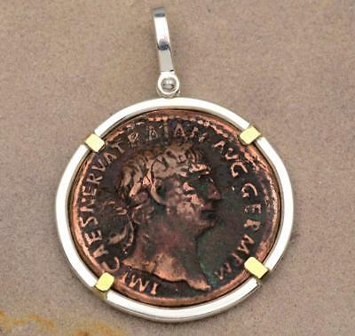 Large Roman Bronze Coin Trajan A.D. 98-117 in Solid S/S + 14kt Gold Pendant