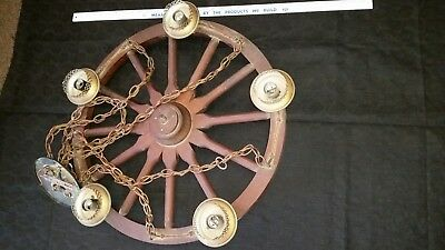 "Vintage Wagon Wheel Chandelier 20+"" Copper Wood Rustic Hanging Light Fixture"