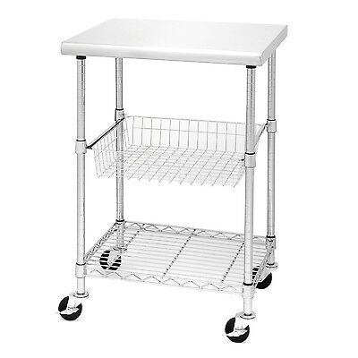 NEW! Seville Classics Stainless Steel Kitchen Work Table Cart - 24x20x36