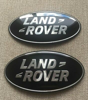 LAND ROVER DISCOVERY 86mm BADGES BLACK & SILVER GRILLE & REAR DOOR BADGE SET