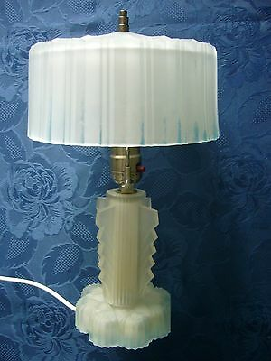 Art Deco Frosted Glass Table Lamp,matching glass shade