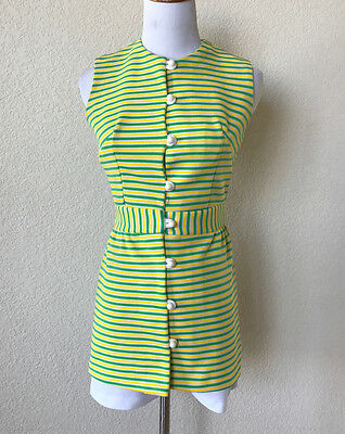 "Vtg 70s Hot Pants Shorts 2 Piece Sz Small XS 30"" Bust Stripe Yellow Green White"