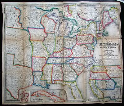 United States California Texas Territorial 1854 rare Williams Lippincott HC map