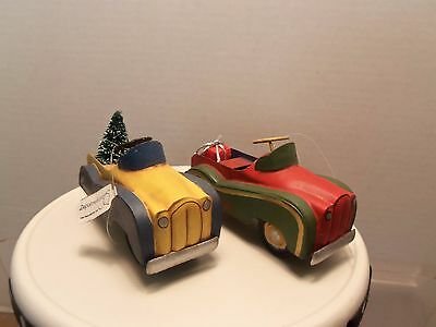 Pair of  Department 56 Christmas Kiddie Cars