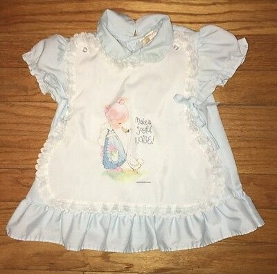 PRECIOUS MOMENTS Vintage Baby Girl Apron Style Dress 12m