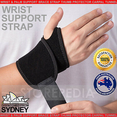 WRIST SUPPORT Brace Pain Relief Strap Wrap Carpal Tunnel Sprain CTS RSI Gym