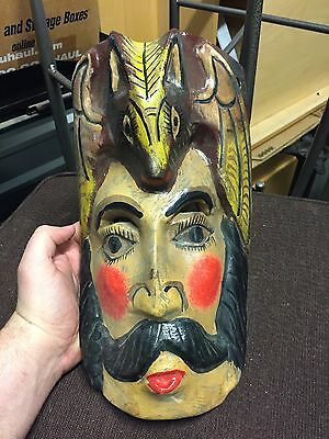Handmade Mexican Folk Art Carved Wood Mask