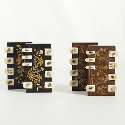 2 pairs of 19th cent Japanese Shibayama inlaid rosewood/lacquer whist counters