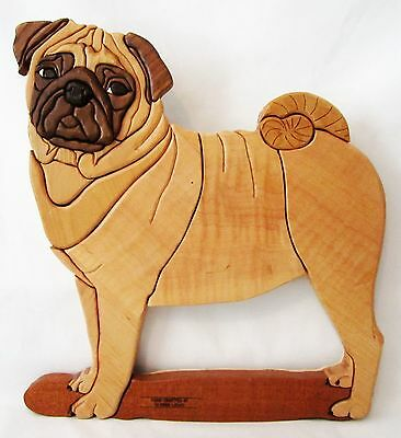 "Handcrafted Intarsia Wood Pug Sculpture Dog Wall Hanging Art Plaque 15"" X 17"""