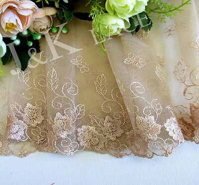 18.5 cm width Camel Embroidery Mesh Lace Trim
