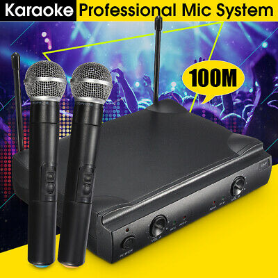 Professional Dual Wireless Microphone System Cordless Handheld Mic KTV 2 Channel