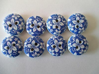 8 x 15mm  Wooden Buttons - BLUE with White Flower Design 2 Holes No1022