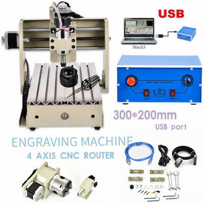Usb Port! 4 Axis 3040T Usb Cnc Router Engraver Engraving Cutting Milling Machine