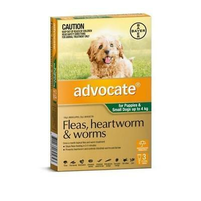 Advocate Flea & Worm Control For Puppies & Dogs Small Up To 4kg 3 Pack