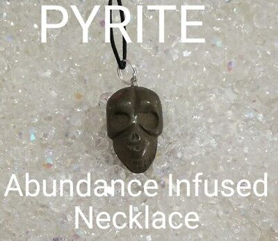 00616 Carved SKULL Pyrite Infused Necklace Doreen Virtue Certified Practitioner