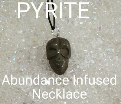 C/616 Carved SKULL Pyrite Infused Necklace Doreen Virtue Certified Practitioner