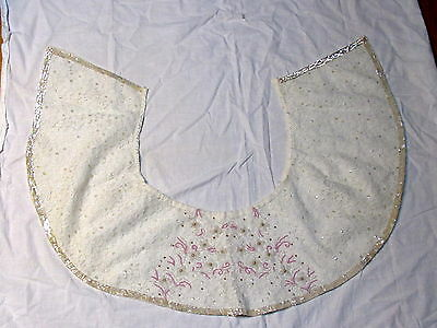 Vintage Huge White Lace Pink Beads Pearls, Sequins Collar or Tree Skirt OR?