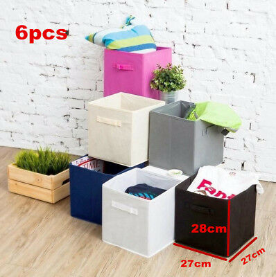 6pcs Foldable Square Fabric Storage Bin Collapsible Box Clothes Organizer Cubes