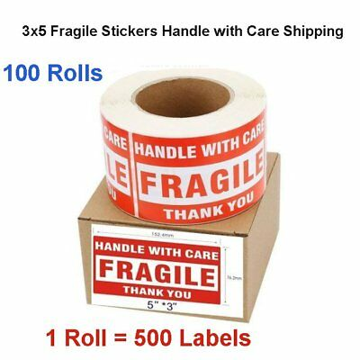 100 Rolls 3x5 Handle with Care Thank You Fragile Stickers Labels 500/Roll