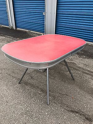 Vintage 60's MCM Retro Cracked Ice Formica & Chrome Diner Dinette Kitchen Table
