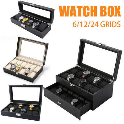 6/10/12/20/24 Grids Jewelry Watch Box Display Case Storage Holder Organizer Gift