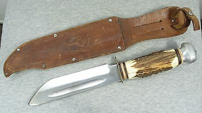 VINTAGE GERMANY BARON SOLINGEN HUNTING KNIFE with STAG HANDLE & LEATHER SHEATH