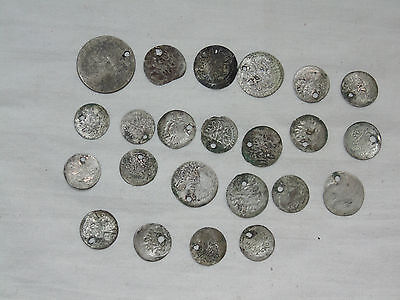 Lot 23 Antique Ottoman Empire Turkish Islamic Silver Akce Akche Drilled Coins *2