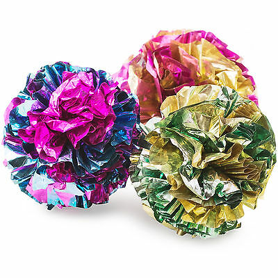 Ancol Pack Of 3 Colourful Crinkle Noise Balls Kitty Cat & Kitten Fun Play Toys