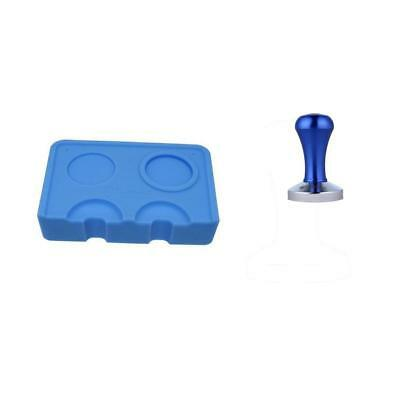 2 Pieces Double Groove Coffee Corner Mat Base Seat Holder Coffee Tamper Blue