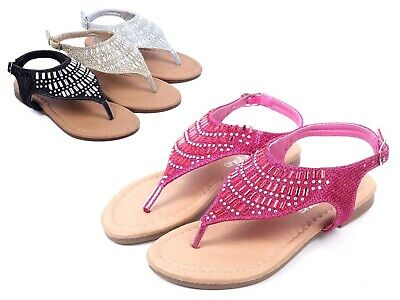 Fuchsia Cute Kids Sandals Rhinestone Girls Flats Youth Casual Shoes Size 9