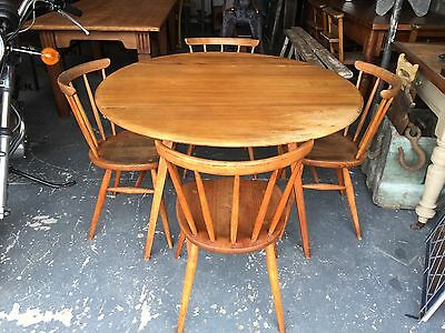 Retro Vintage Mid Century Ercol Oval Drop Leaf Dining Table with Four Bow Chairs