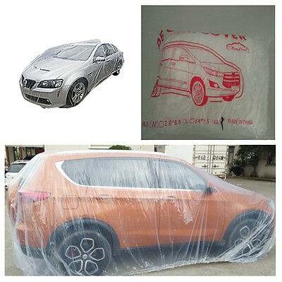 1X Large Transparent Clear Plastic Temporary Disposable Universal SUV Car Cover