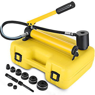 "6 Die 10 Ton Hole Hydraulic Knockout Punch 1/2"" to 2"" Electrical Cutter Set"