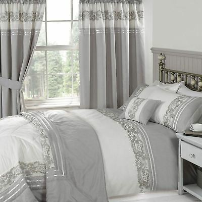Chantilly Luxury Mink Grey Devine Embroidered Bedding Duvet Quilt Cover Set