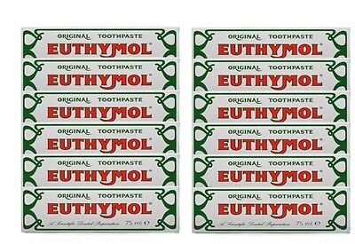 Euthymol Original Traditional Toothpaste 75ml x 12 Tubes -UK Seller--Exp 05/2020