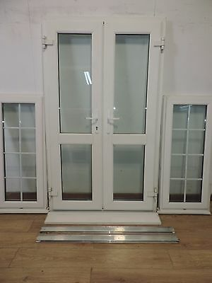 Upvc french patio doors double glazed with side window for Outward opening french doors
