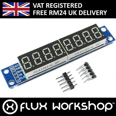 8 Digit 7 Segment Red Display Module MAX7219 Arduino Pi 51 Flux Workshop
